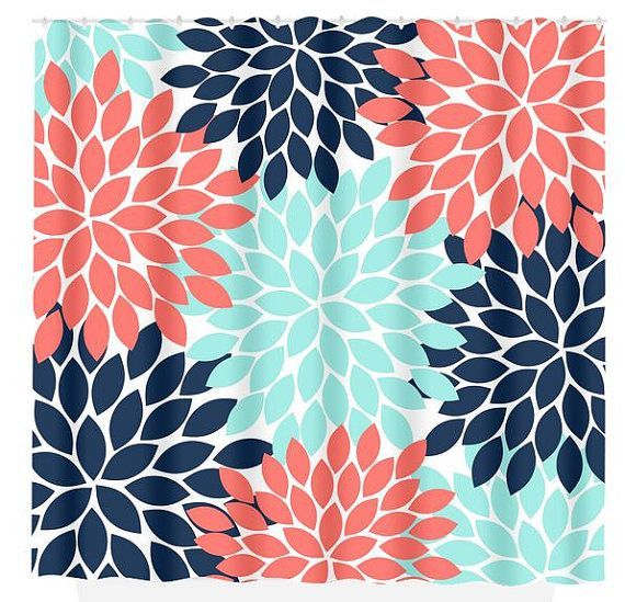 Navy Coral Aqua Floral SHOWER CURTAIN Flowers Custom MONOGRAM Personalized Bathroom Decor Bath Beach Towel Plush