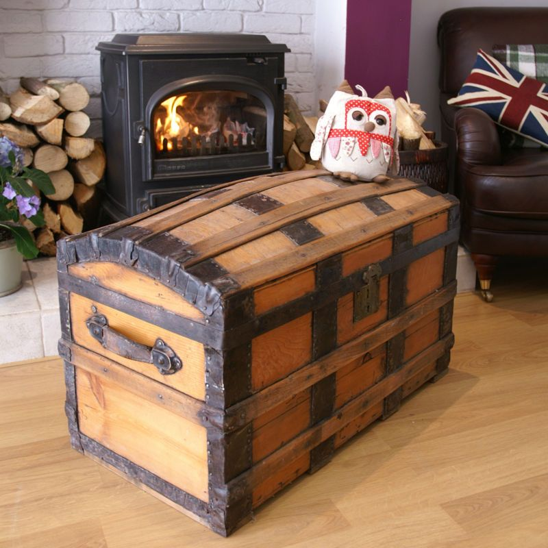 Fantastic Victorian Pine Dome Topped Railway Trunk Vintage Pine Box Wooden Chest Ebay Wooden Chest Wooden Boxes Trunks And Chests
