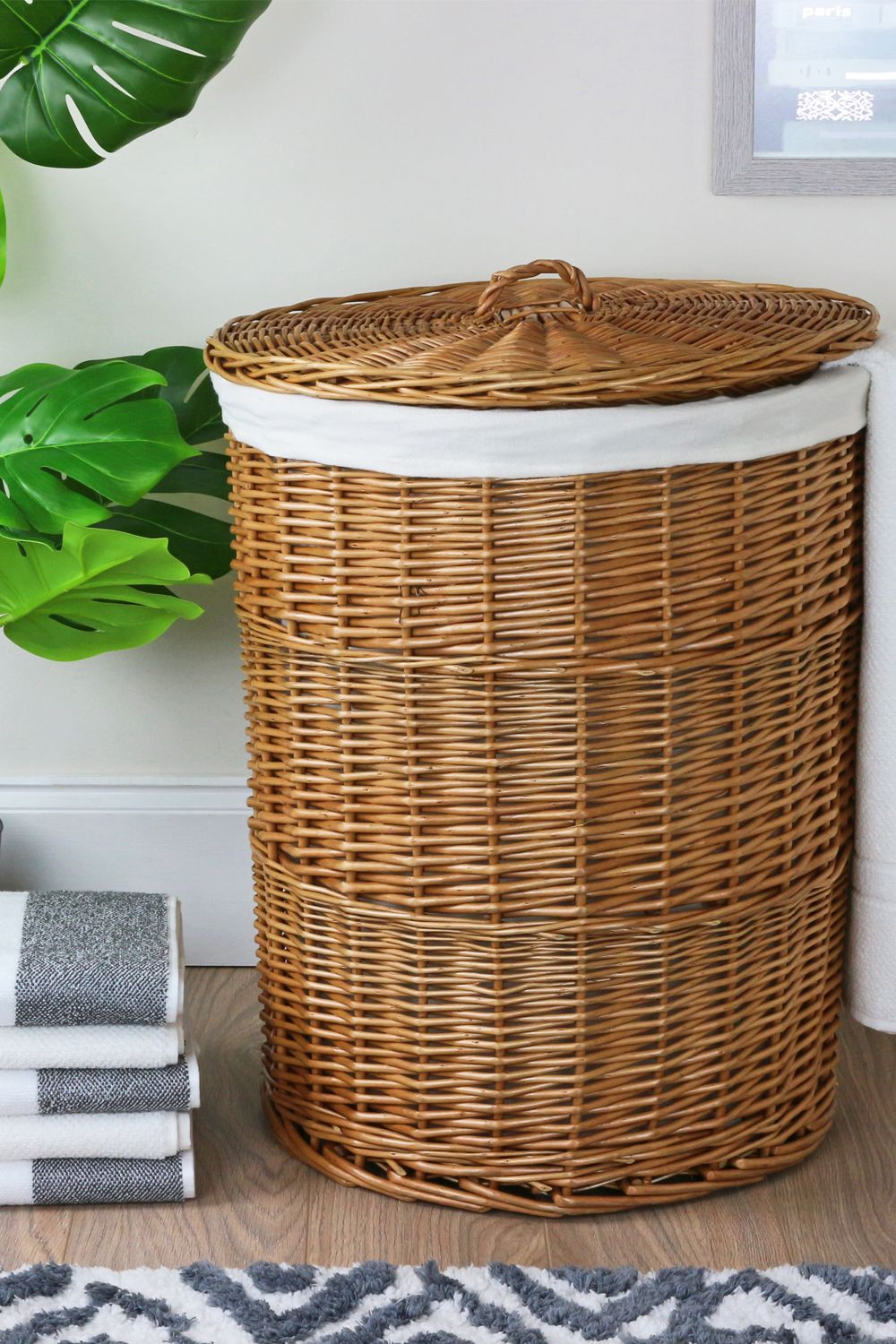 Round Natural Wicker Laundry Basket In 2020 Wicker Baskets With Handles Wicker Basket