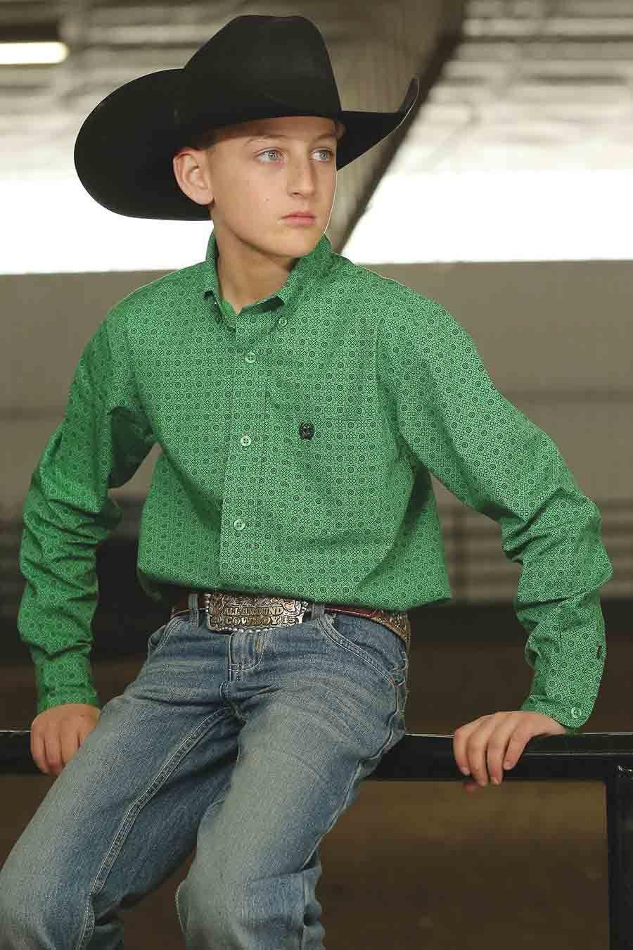 4910ca584cc Cinch Boys/Toddler/Infant Green Button Down Long Sleeve Shirt in ...