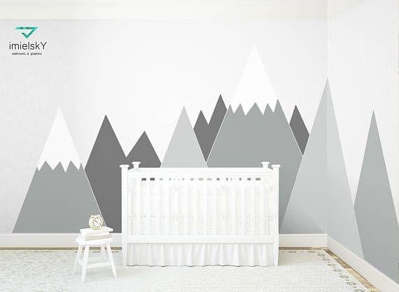 Mountains Wall Decal Nursery Wall Art Headboard Corner Pattern