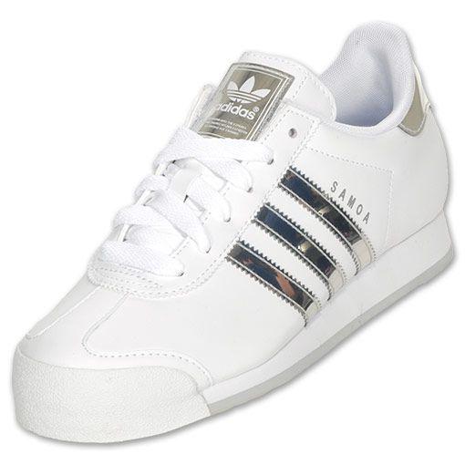 adidas samoa donne occasionale scarpa bianca / metallico.