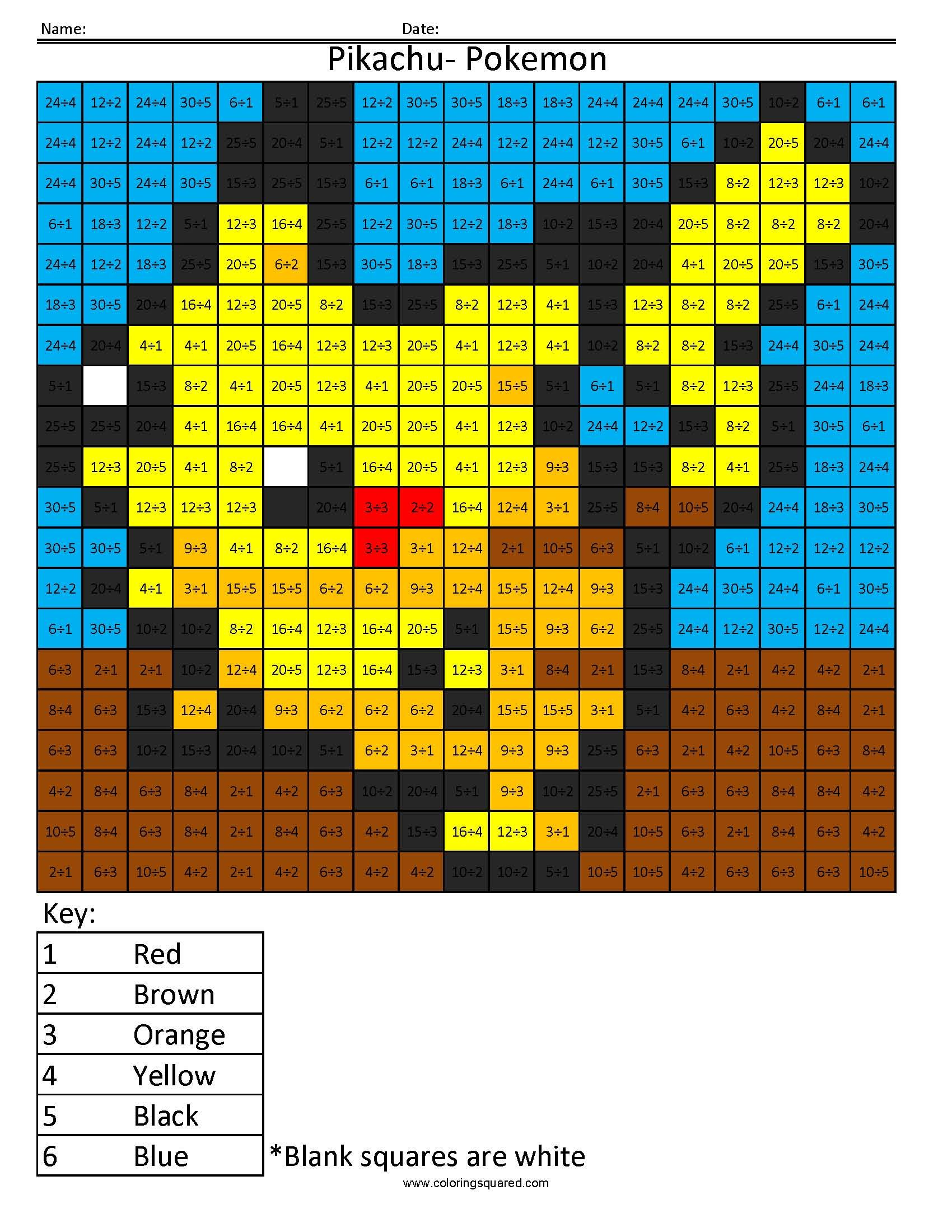 mario multiplication division color by number worksheets fourth