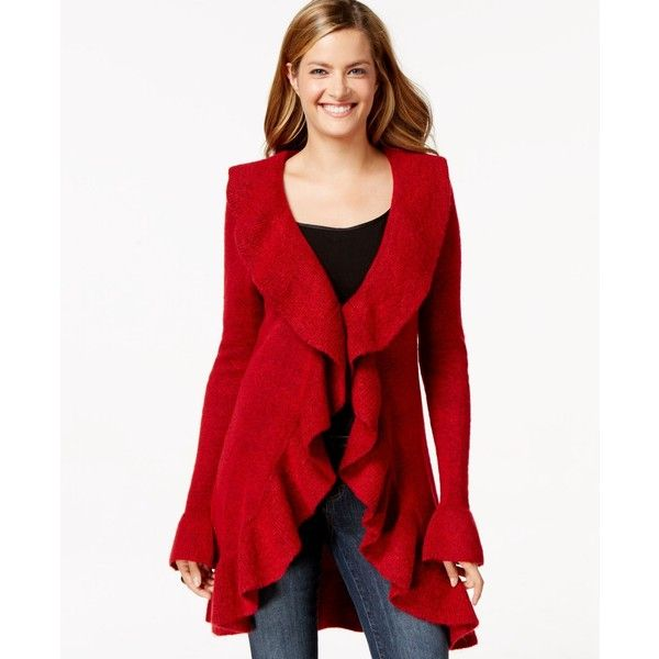 Style & Co. Ruffle-Trim Cardigan ($48) ❤ liked on Polyvore featuring tops, cardigans, new red amore, red top, red cardigan, style&co tops, ruffle top and ruffle cardigan