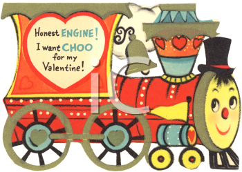 Vintage Valentine Card Showing a ChooChoo Train  Valentines