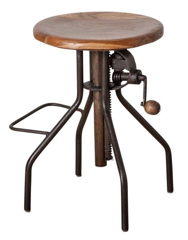Iron Metal Bar Stool Kitchen Chair Crank Adjustable Wood Rustic Industrial Retro  sc 1 st  Pinterest & Iron Metal Bar Stool Kitchen Chair Crank Adjustable Wood Rustic ... islam-shia.org
