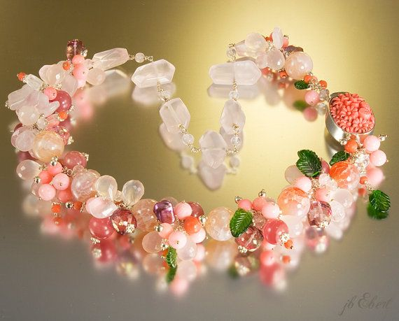 Pink gemstone beaded necklace. Coral, rose quartz, sterling silver - Della Robbia