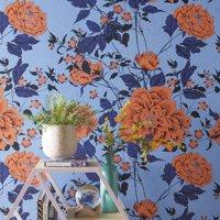 Orange And Blue Vintage Floral Peel And Stick Wallpaper By Drew Barrymore Flower Home Walmart Com Peel And Stick Wallpaper Vintage Floral Pattern Vintage Floral