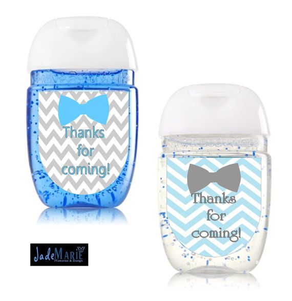 Bowtie Hand Sanitizer Labels Baby Shower Favors Birthday Digital