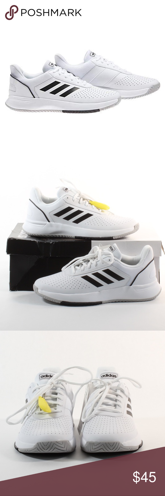 Men S Adidas Courtsmash Tennis Shoes White New Nwt Tennis Shoes Sporty Style Shoes
