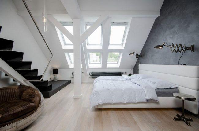 Schlafzimmer-Ideen-Weiss-Loft-Wohnung-Polster-Bett my Home dye - schlafzimmer mit polsterbett