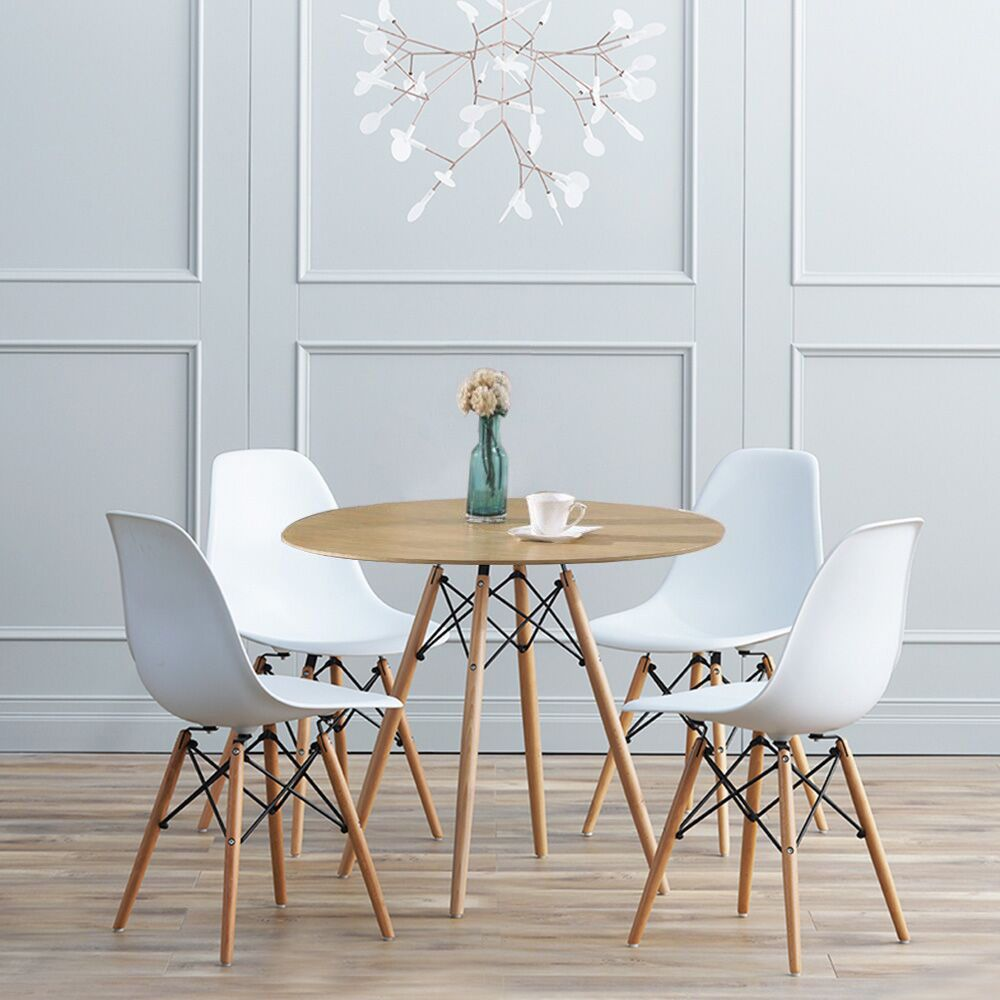 Details About 80cm Round Dining Table And 2 4 Chairs Set Study