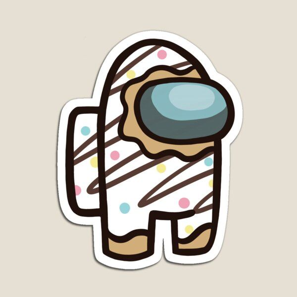 Cute Among Us Vanilla Striped Donut with Sprinkles