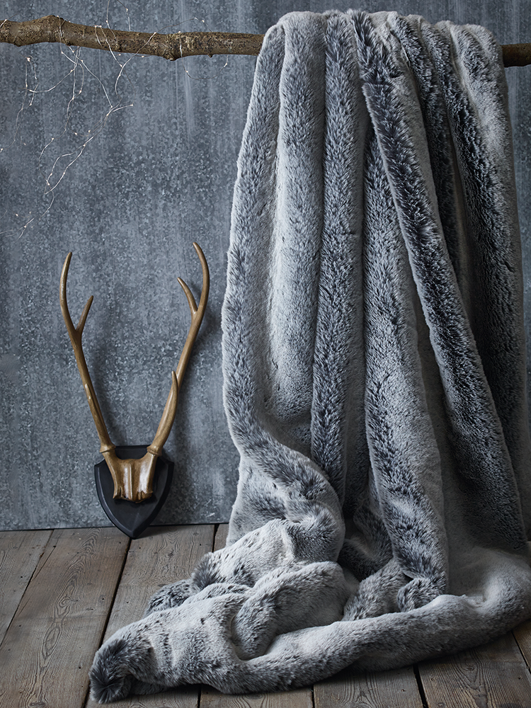 luxurious supersoft faux fur throw with a soft faux suede backing in husky l180 - Faux Fur Throws