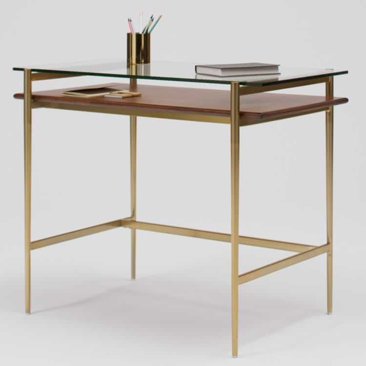 Mid Century Art Display Mini Desk In 2020 Mini Desk Glass Top Desk Furniture Design Modern