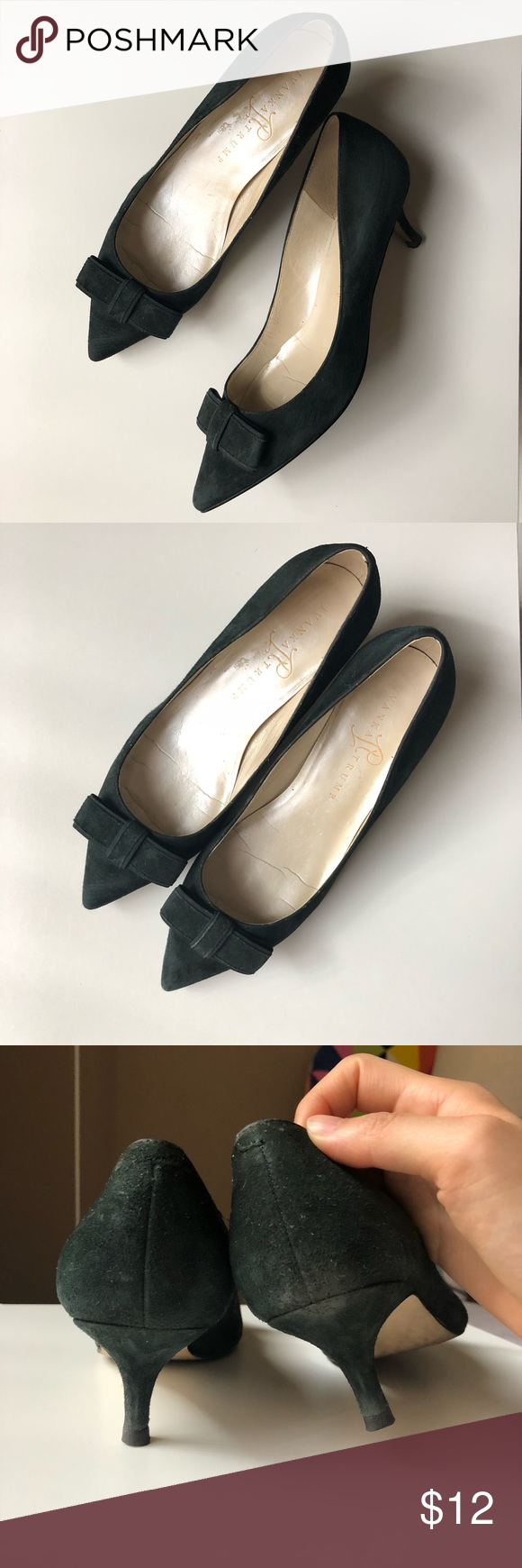 e3f463350818 Ivanka Trump kitten heels green suede bows size 8 Ivanka Trump kitten heels  green suede