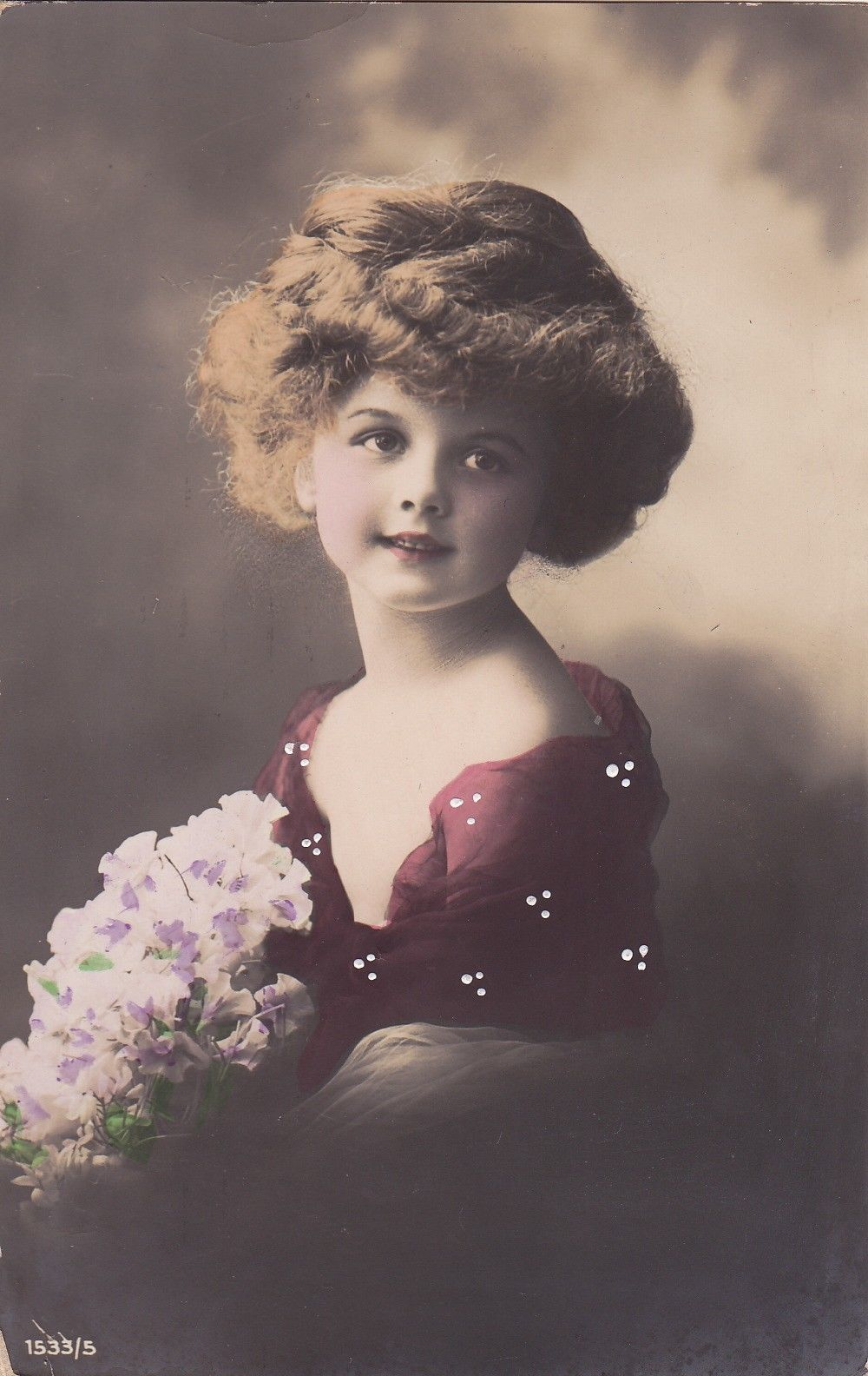 Beautiful Edwardian Girl with Coiffure Pink Flowers