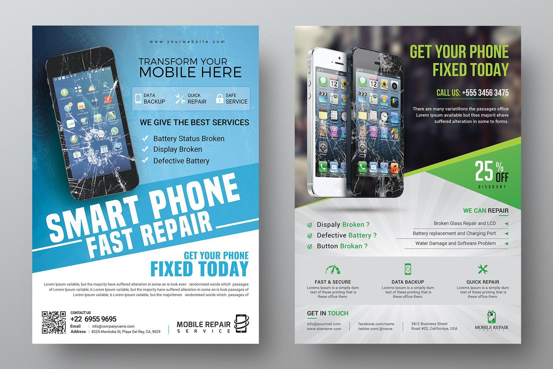 Mobile repair service flyer bundle in 2020 smartphone