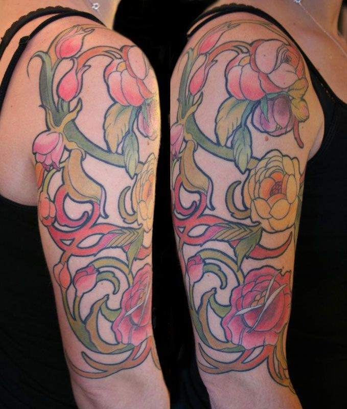 Flower Art Nouveau Tattoo By Monica Painter Www Sugarcitytattoo Com Art Nouveau Tattoo Tattoos Art Nouveau Floral Tattoo
