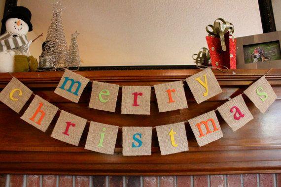 Christmas Banner, Merry Christmas, Colorful, Holiday, Burlap, Banner, Bunting, Garland
