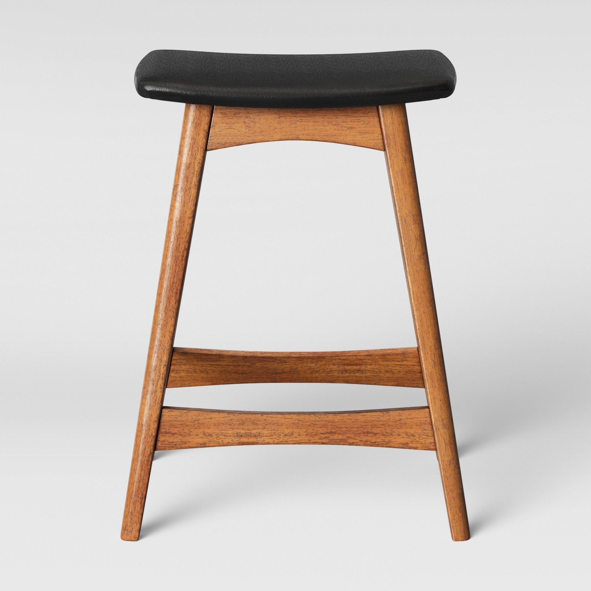 Domela Modern Saddle Counter Stool Faux Leather Brown Project 62