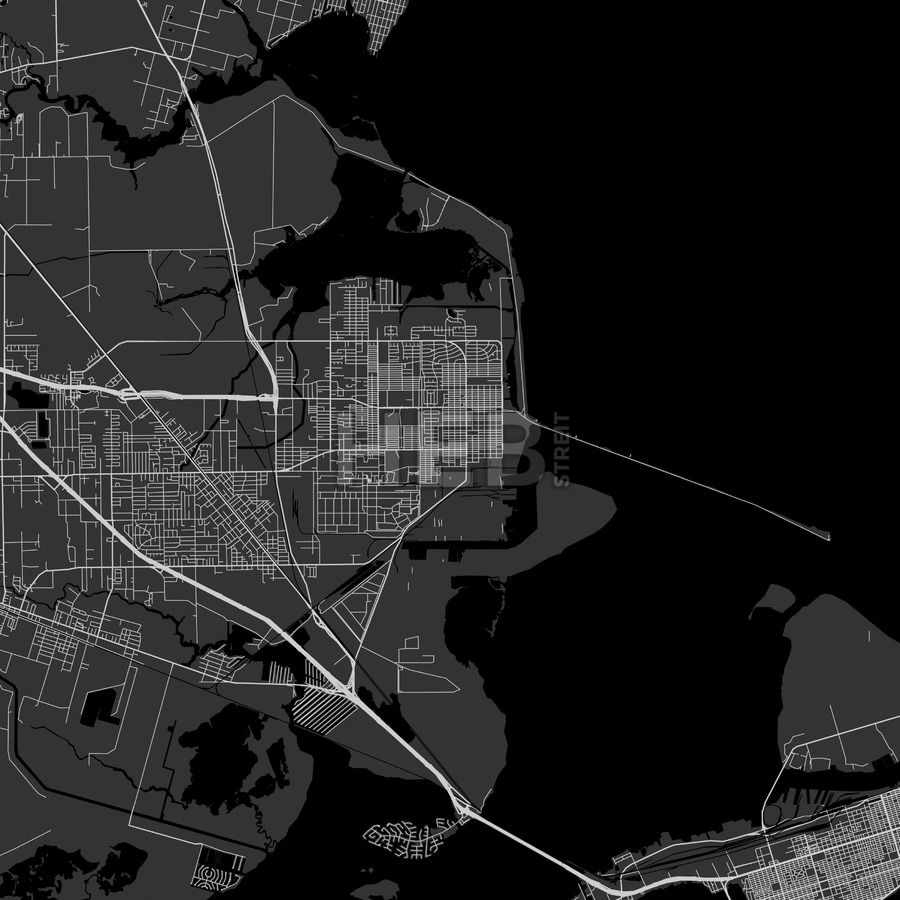 Texas City downtown and surroundings Map in