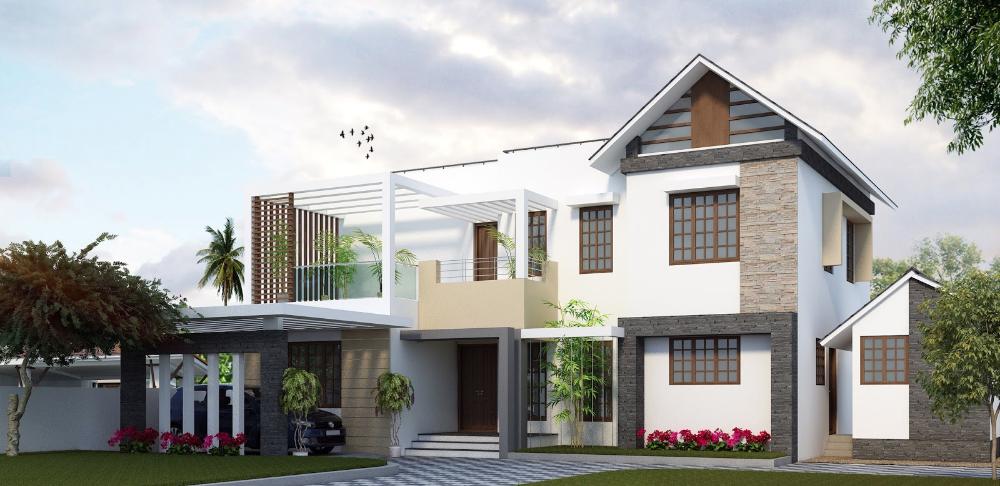 Contemporary Kerala Home Design New Modern Houses Mix Style Kerala House Design House Designs Exterior Modern House Exterior