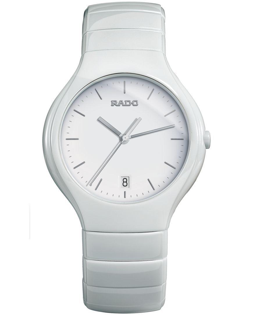 Rado Watch, Unisex Swiss True White Ceramic Bracelet 41mm R27695022