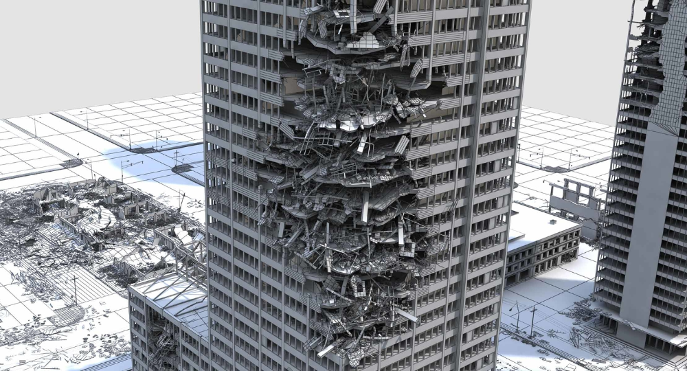 3d Model Of Ruined City Destroyed Buildings In 2021 Ruined City Building 3d Model