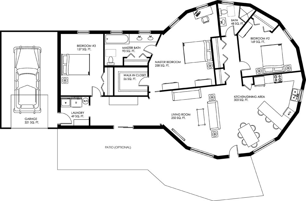 The Shenandoah Idea To Add On Space To An Existing Dome For Garage And Second Story Custom Floor Plans Round House Plans Custom Home Plans
