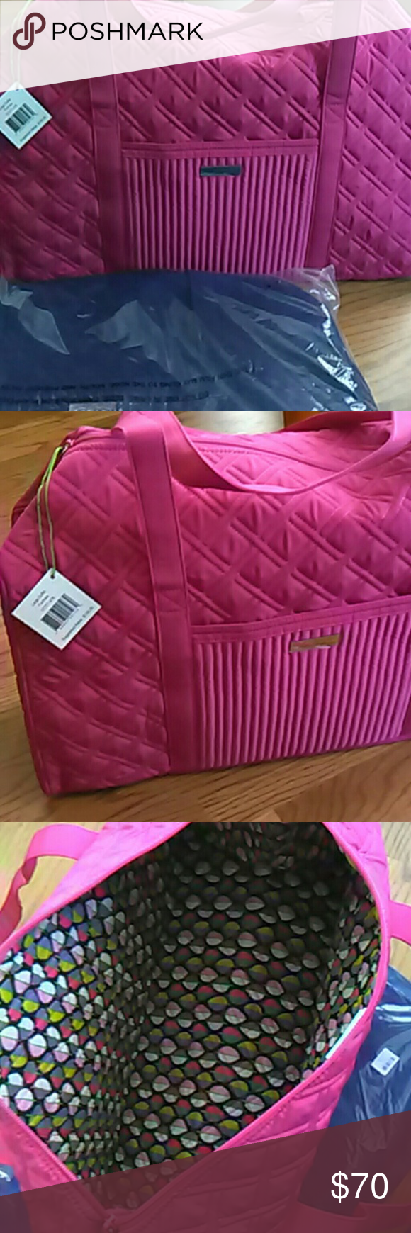 NWT Vera Bradley large duffel travel bag Gorgeous large duffel holds a LOT!  Perfect for any summer travel plans.  I have this in fuchsia and cobalt blue. Both colors are amazing.  The pink is also available in my closet. Vera Bradley Bags Travel Bags