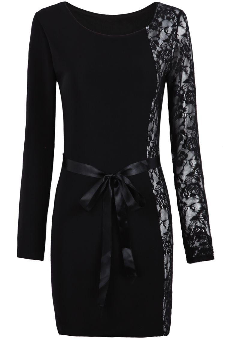Love black long sleeve contrast lace belt bodycon dress