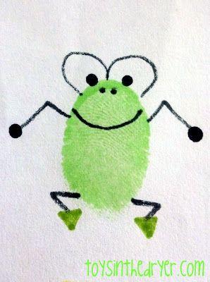 Fingerprint Art On A Log Group Picture A Froggy