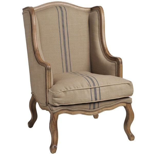 French Colonial Ticking Stripe Fabric Wing Back Arm Chair
