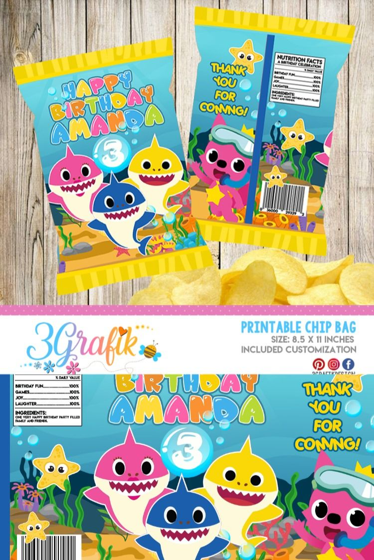 Baby Shark Chip Bags party