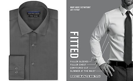 14a26f17311 Geoffrey Beene Men s Fitted No-Iron Stretch Sateen Dress Shirt ...