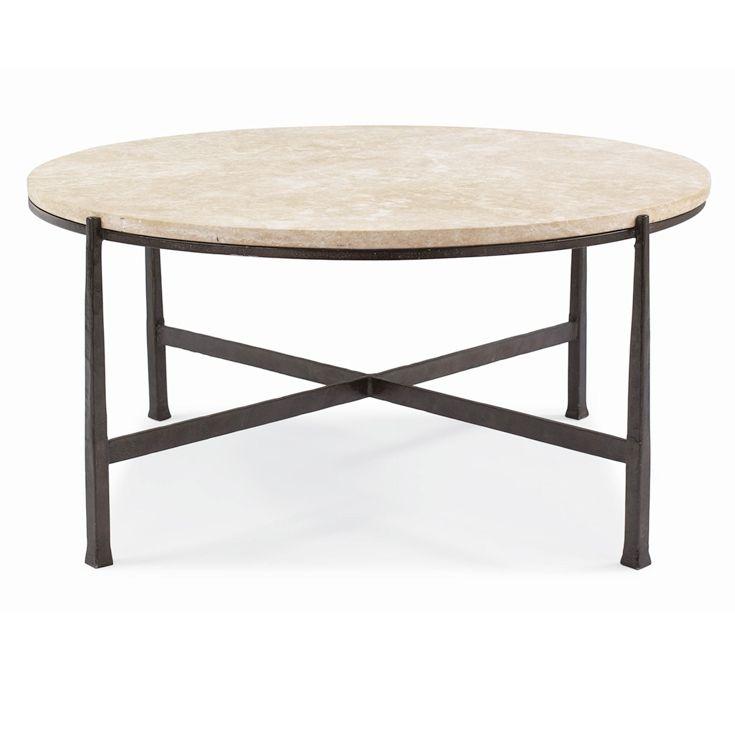 Bernhardt. Duncan Round Metal Cocktail Table. Saltillo travertine ...
