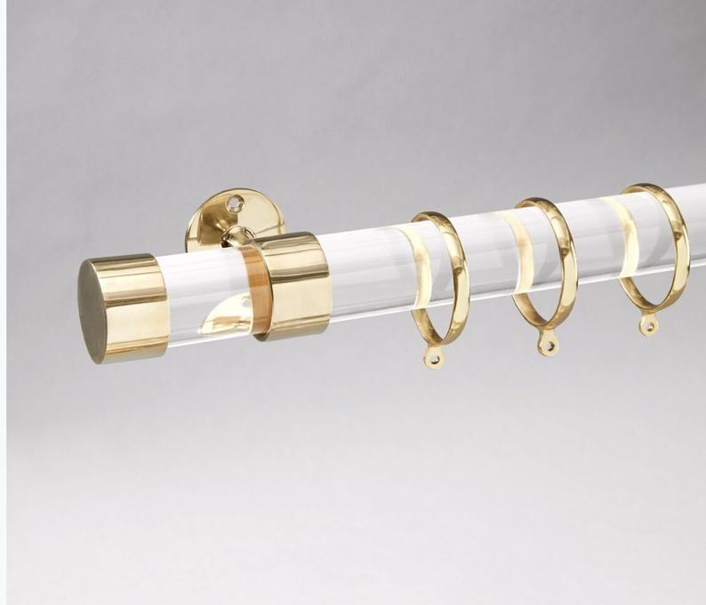 Curtain Rod Lucite Polished Brass Satin Brass Or Nickel Custom Curtain Rod Lucite Drapery Rod Custom Curtain Rod Luxholdups In 2020 Custom Curtain Rods Polished Brass Satin Brass