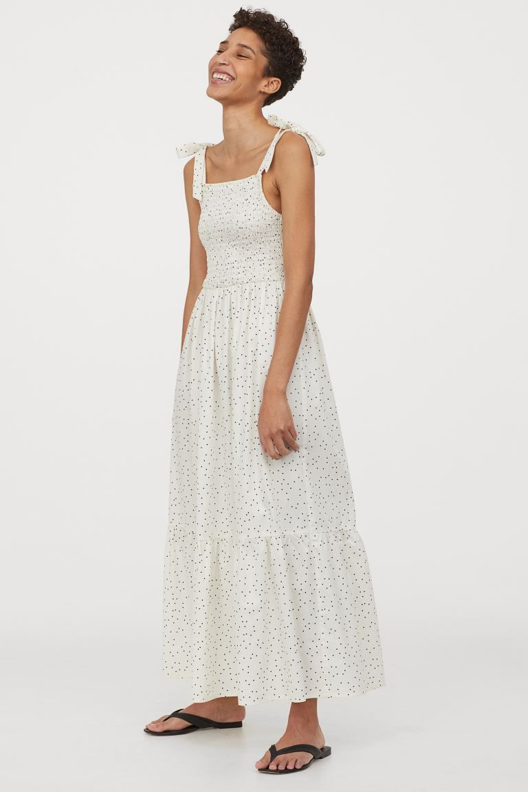 smocked cotton dress - white/spotted - ladies | h&m gb