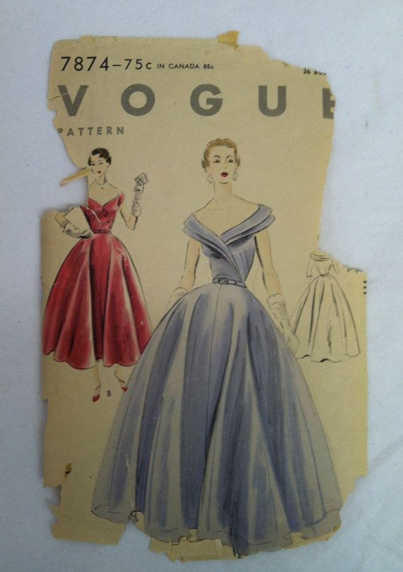 Vintage 1950s Dress Ball Gown 50s Sewing Pattern Vogue 7874 Wedding ...