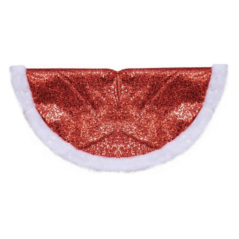 20 Decorative Sparkling Red Glitter with White Faux Fur Border Mini