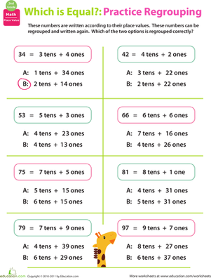 Regrouping Practice Place Value   Worksheets And Fact Families