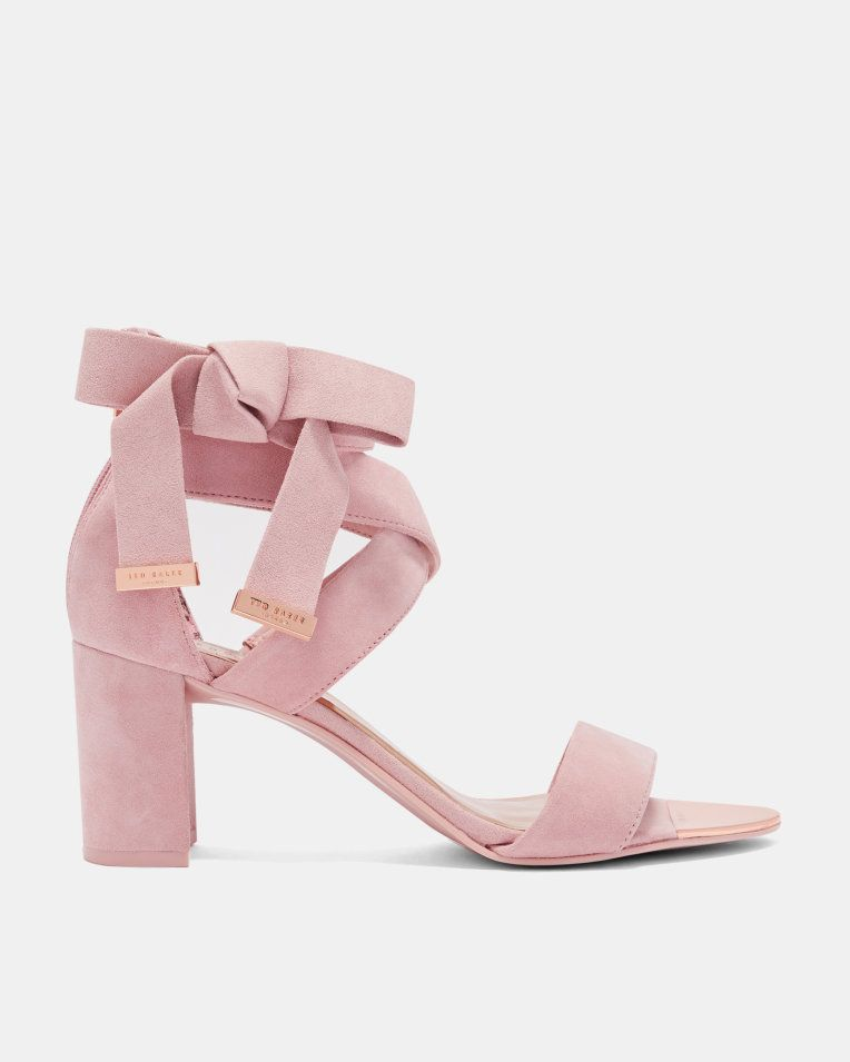Suede Bow Detail Strappy Sandals - Light Pink