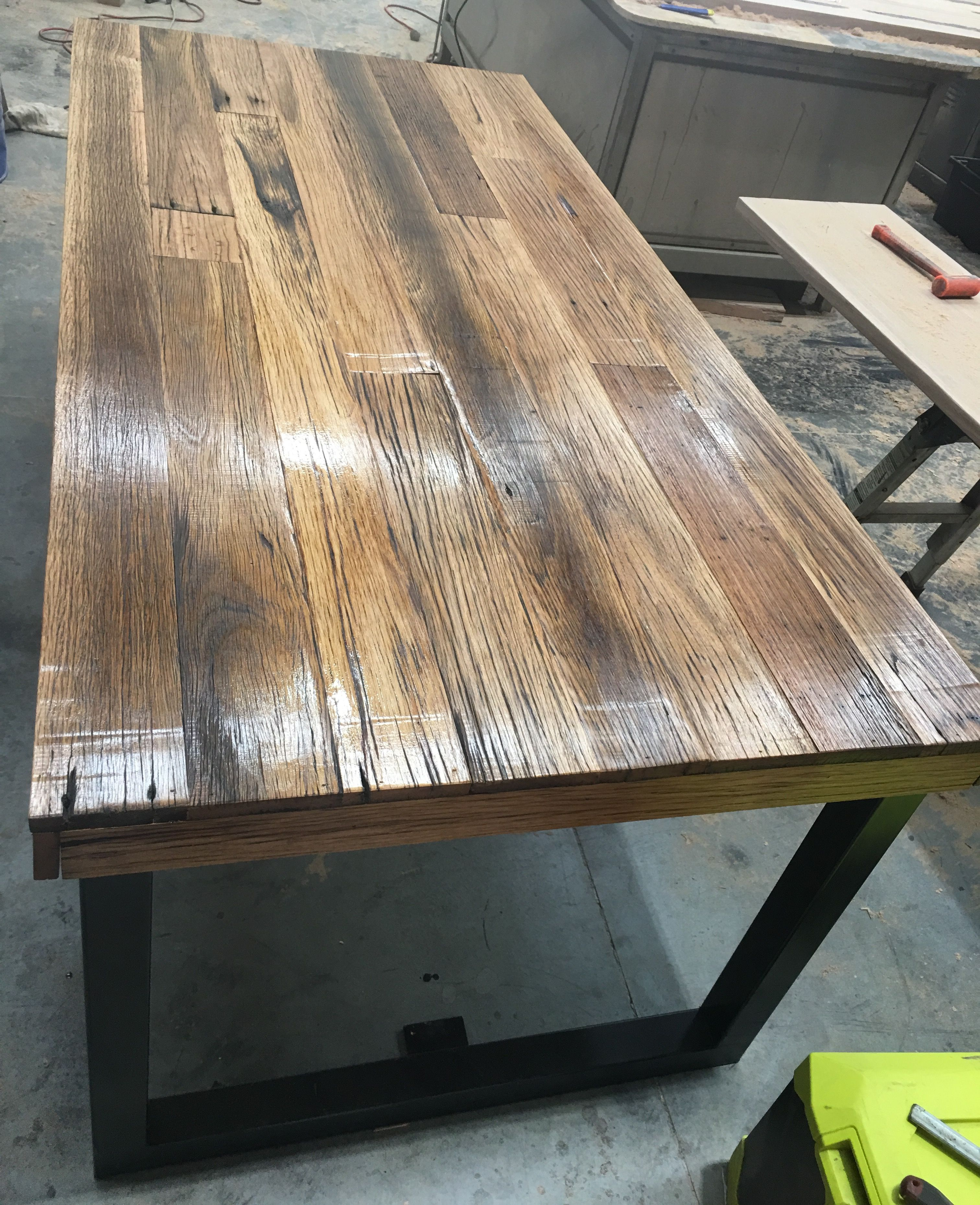 Recycled Timber Palings Industrial Dining Table With Black Metal