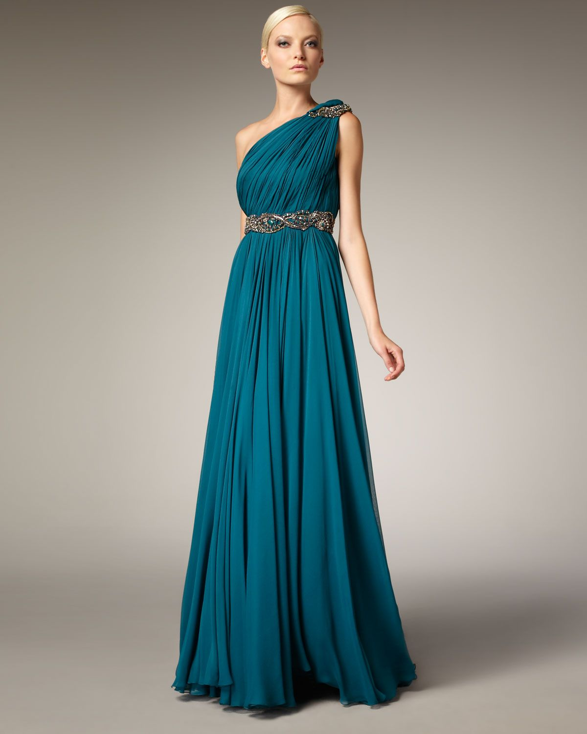 Women\'s Blue Grecian One-shoulder Gown | Marchesa, Teal and Gowns