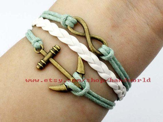 Infintiy bracelet anchor bracelet combination by handworld on Etsy, $3.59