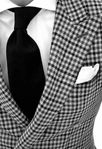CUSTOM MADE TO MEASURE BLACK WHITE CHECKERED MEN SUITS