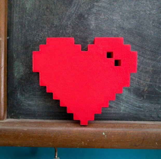 3D printed Pixel Heart valentine's day 8bit love