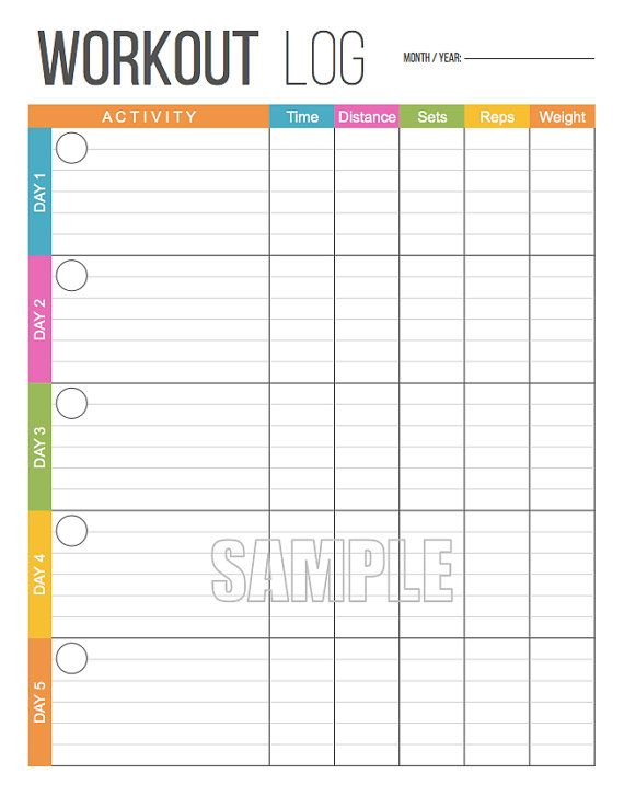Workout Log - Exercise Log - Printable for Health and Fitness - monthly workout log