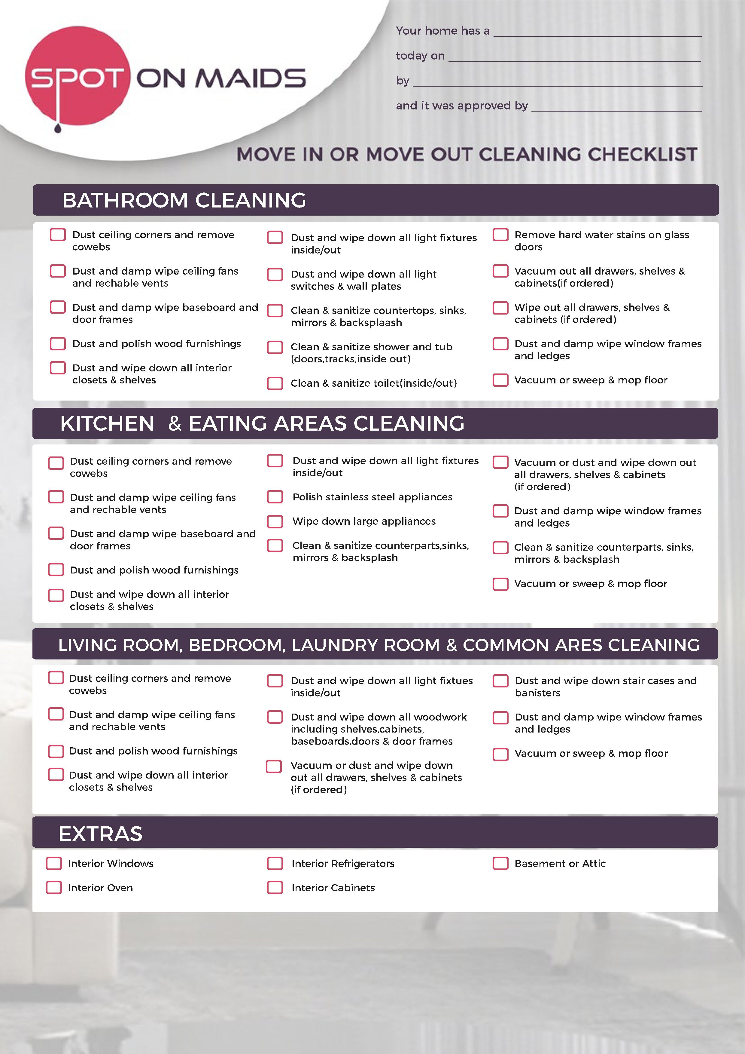 Cleaning Checklist Cleaning Checklist Cleaning Business House Cleaning Checklist Move out cleaning checklist template
